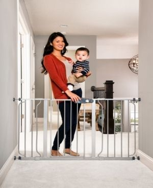 Regalo Extra Wide Easy Step Metal Walk Through Baby Gate   Platinum