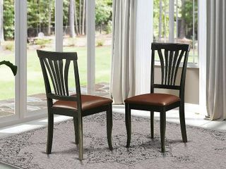 East West Furniture Avon 2 Piece Modern Dining Chairs with Faux leather and Hardwood Frame with Black Finish   2 Chairs