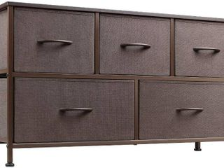 WlIVE 5 Drawer Dresser  Fabric Storage Tower  Sturdy Steel Frame Organizer Unit  Wood Top  Easy Pull Handle