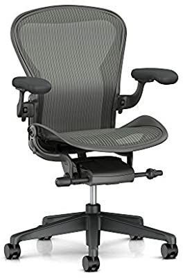 Herman Miller Aeron Ergonomic Office Chair with Tilt limiter and Carpet Casters   Adjustable PostureFit Sl  Arms  and Seat Angle   Medium Size B with Carbon Finish