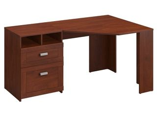 Bush Furniture Wheaton Reversible Corner Desk with File Drawers  Multiple Colors