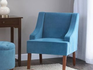 HomePop Velvet Swoop Arm Accent Chair  Teal