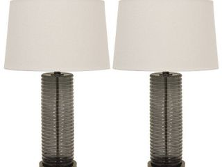 Set of 2 Tall Ribbed Glass Table lamps   Retail 159 49
