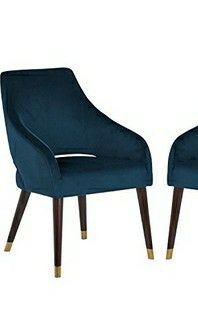 Amazon Brand a Rivet Fir Mid Century Modern Velvet Dining Accent Chair  23 6 W  Blue  ONE