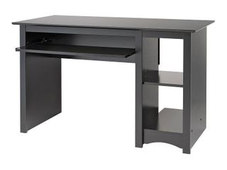 Prepac 48 in  Rectangular Black Computer Desk with Keyboard Tray
