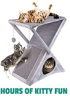 Ruff  n Ruffus Foldable Cat Tower Tree   Plush Folding House with Hammock   Condo   Scratching Pad   for Kittens   Medium   large Cats