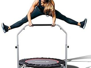 BCAN 40  Foldable Mini Trampoline  Fitness Rebounder with Adjustable Foam Handle  Exercise Trampoline for Kids Adults Indoor Garden Workout Max load 330lbs   TRAMPOlINE ONlY MISSING lEGS  HARDWARE  SUPPORT BAR
