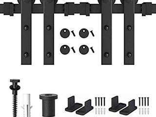 ZEKOO 5 FT Double Sliding Barn Door Hardware Slide Hanger Roller Track Kit