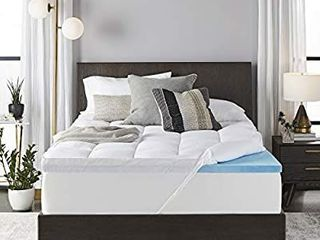 Sleep Innovations 4 inch Dual layer Gel Memory Foam Mattress Topper Enhanced Support  king  Made in the USA