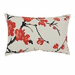 Beige Red Flowering Branch Throw Pillow   Pillow Perfect