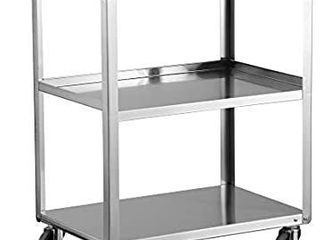 lakeside 411 Utility Cart  Stainless Steel  3 Shelves  500 lb  Capacity  Fully Assembled