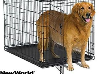 World 42  Folding Metal Dog Crate  Includes leak proof Plastic Tray  Dog Cra