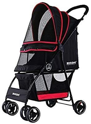 ROODO Dogs Cats Stroller lightweight  Compact  Portable  Practical  Detachable Jogger Trolley 30lB