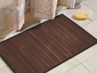 iDesign Formbu Bamboo Floor Mat Non Skid  Water Resistant Runner Rug for Bathroom  Kitchen  Entryway  Hallway  Office  Mudroom  Vanity  24  x 45  Mocha Brown