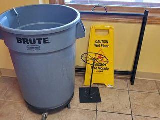 Brute Trashcan On Wheels  Display Stands  Wet Floor Sign