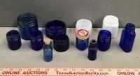 Vintage Blue Vicks Jars