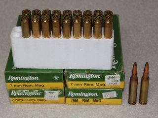 #653 (4) Boxes of Remington 7MM Rem Mag. 150 Grain Soft Point