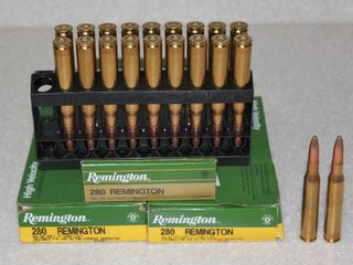 #655 (3) Boxes of Remington 280 (2) 150 Grain Soft Point Rounds, and (1) 165 Grain