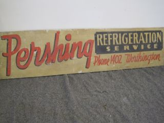Wood Pershing Refrigeration Service Sign