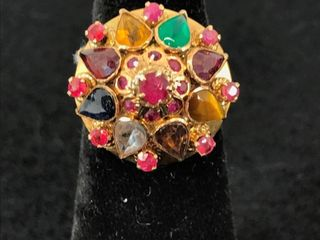 Ladies 14kt Yellow Gold Multi Gemstone Ring. The