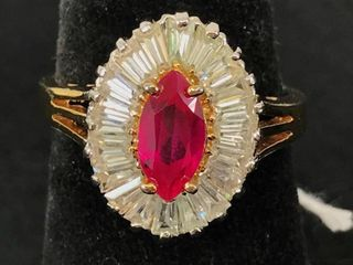 Ladies 14kt Yellow Gold Synthetic Ruby Ring. The