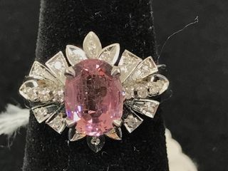 Ladies 18kt White Gold Pink Tourmaline And