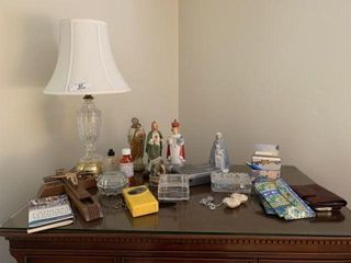 Crystal Table Lamp & Religious Items