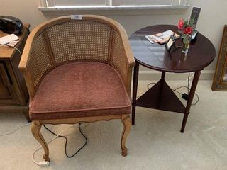 Cane Back Side Chair & Small Table