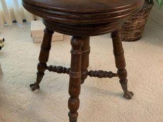 Piano Stool w/ Glass Claw & Ball Feet