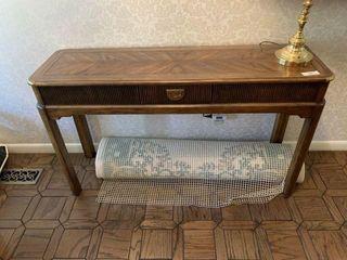 Sofa Table, Brass Lamp, Playing Cars & Rug