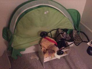 Tent, Cradle w/Dolls, Stroller