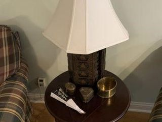 Oriental Style Lamp w/ Drop Leaf Table & Misc