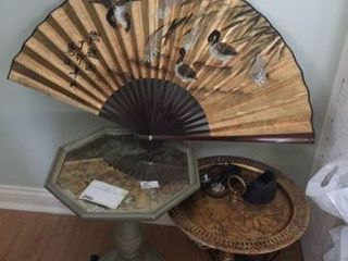 2 Stand Tables & Oriental Fan