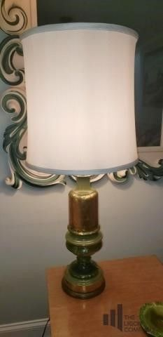 Mid Century Green Table Lamp with Gold Flick