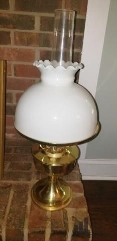 Brass and Milk Glass Globe Oil Lantern