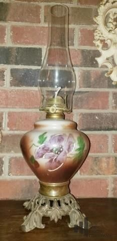 Antique Painted Porcelain Oil Lamp