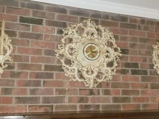 Ornate Wall Clock and Side Candle Sconces