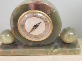 Mid Century Art Deco Green Marble Electric Clock