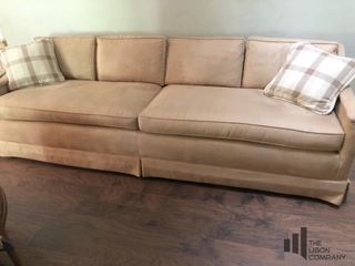 Mid Century Modern Suede Like Upholstered Couch