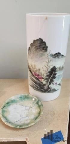 Handprints Vase and Small Marble Bowl