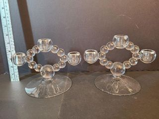 Pair Glass Tripple Candle Holders