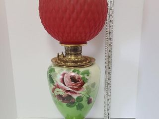 Hand Painted Antique Oil Lamp