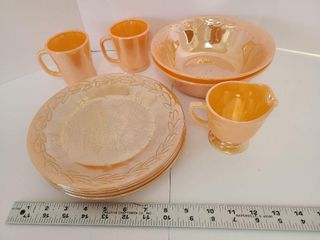 9 Pieces Fire King Peach Luster
