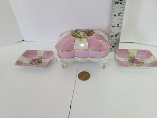 3 Piece Luster Hand Paint Trinket Box/ Pin Trays