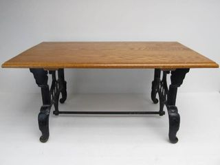 Nice Antique Cast Iron Sewing Machine Base Coffee Table with Solid Oak Top