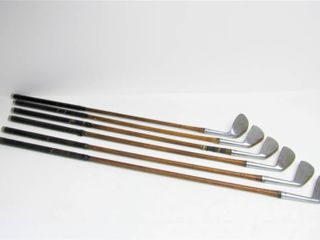 Matching Set of 6 Antique SPALDING BROS Hickory Shaft Golf Clubs