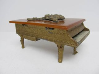 Antique Gilt Metal & Bakelite Grand Piano Music Box
