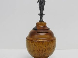 Quality Antique Inlaid Turned Wood Coin Bank w/Cupid Finial