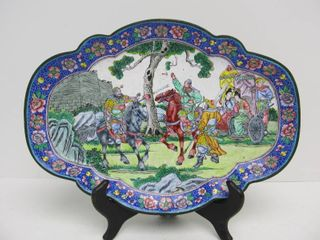 Ornate Antique Enameled Bronze Chinese Tray