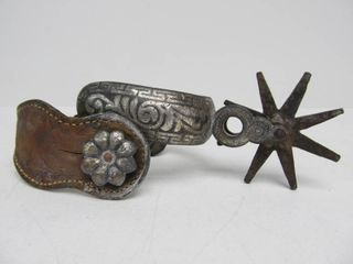 Large Early Antique Silver Mounted Western Chihuahua Spur